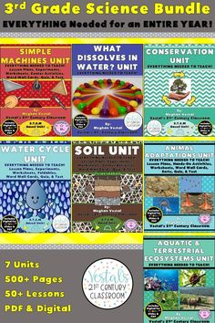 This 3rd-grade science curriculum includes lesson plans, hands-on activities and experiments, worksheets, and video links. Seven science units are included. #vestals21stcenturyclassroom #3rdgradescience #3rdgradescienceexperiments #3rdgradesciencelessonplans #3rdgradescienceworksheets #3rdgradesciencecurriculum #simplmachineslessonplans #conservationlessonplans #watercyclelessonplans #soillessonplans #animaladaptationslessonplans #ecosystemslessonplans