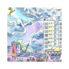 PINME123 Promo code available now. South London watercolor illustration by DreamyMeisme