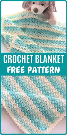 Try this free unisex crochet blanket pattern which beginners and experienced crocheters will enjoy. The Afghan border is also super easy and is quick compared to a picot border. You can make it for a baby or for your home. #crochetbabyafghan #crochetblanketpattern, #corchetblanket, #freecrochetblanket Crochet Baby Blanket Free Pattern, Crochet For Beginners Blanket, Granny Square Crochet Pattern, Crochet Stitches Patterns, Baby Afghan Patterns, Crochet Borders, Tunisian Crochet, Baby Afghans, Baby Blankets