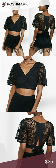 Black Lace Open Tie Back Crop Top New with tags open back tie back black lace rose pattern deep V neck crop top. totally opaque in the front - can't see though at all, lacy and sexy in the back. cute little bow to adjust to eveyrbody's body type! perfect for warm weather or a night out. Express Tops Crop Tops