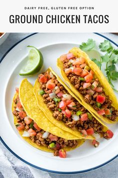 Ground Chicken Tacos | This is one of my favorite recipes! Ground chicken cooks so quickly with easy, homemade seasoning, and they can be made as spicy as you want them. They're perfect for easy dinners during the week, and they're healthy and clean eating friendly too! #dairyfree #tacos Dairy Free Recipes Easy, Healthy Dinner Recipes, Gluten Free, Diet Recipes, Advocare Recipes, Candida Recipes, Weeknight Recipes, Paleo Meals, Cleanse Recipes