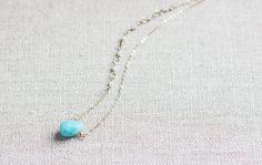 Amazonite Teardrop Necklace by wanderingrootjewelry on Etsy