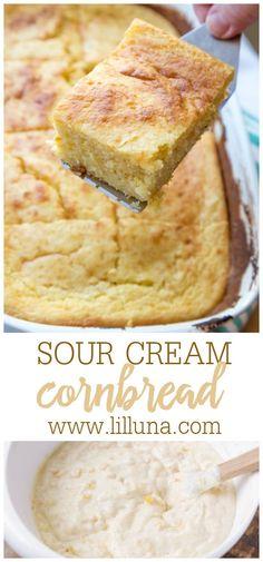 Sour Cream Cornbread, Cornbread Cake, Cornbread Casserole, Side Dish Recipes, Snack Recipes, Cooking Recipes, Bread Recipes, Side Dishes, Cornmeal Recipes
