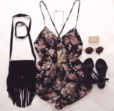 boho, chic, clothes, clothing, cute, festival, floral, grunge, hippie, indie, jumper, music, outfit, purse, romper, sandals, spring, summer, ootd