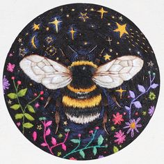 """I've completed my Bee embroidery & I am over the moon with how it turned out!!! This is the first personal piece I have completed since December 2015!! It's in a 4"""" hoop filled to the edges & took me around 43-45 hours to complete...I'm so sorry I don't have the exact timing, I took a bit of a break from the piece for a few months so lost track on my Audible App! (I listen to books whilst I embroider so it's very easy for me to know the timing) Would you guys like to see more personal wor"""