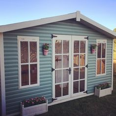 The gin palace is finally painted on the outside now for the inside must admit I hate painting but love the end result Fence Paint Colours, Shed Colours, Cuprinol Garden Shades, Wendy House, Palace Garden, Wooden Playhouse, She Sheds, Spanish House, Play Houses