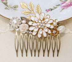 Eternal Love - Vintage Assemblage Hair Comb, Repurposed Jewelry, Upcycled, Bridal, Shabby Chic, Rhinestone and Pearl, OOAK Vintage Collage