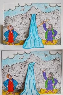 Mozes en het water uit de rots Moses and the water from the rock Moses Bible Crafts, Bible Study Crafts, Bible Activities For Kids, Bible Crafts For Kids, Bible Study For Kids, Bible Lessons For Kids, Sunday School Projects, Sunday School Kids, Sunday School Activities
