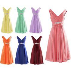 Mix Color A-line V Neck Chiffon Short Bridesmaid Dress #homecoming #prom #wedding #bridesmaid #dress
