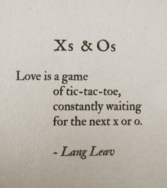 Love is a game of tic tac toe
