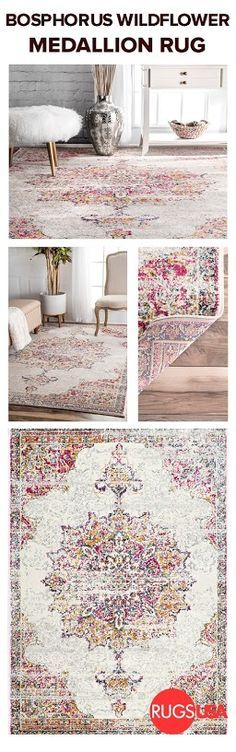 Craving much needed color for your home? Visit http://RugsUSA.com for this Bosphorus Wildflower Medallion rug at 70% off plus free shipping, and to find a variety of designs at great price points to fit your needs! The subtle vintage design is perfect for any space and is also available in additional colors! #rugsusa