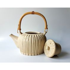 Ceramic Teapot in Soft Cream by Cecilia Lind, StudioLInd ($140) ❤ liked on Polyvore featuring home, kitchen & dining, teapots, ceramic tea pot, polka dot teapot and ceramic teapots
