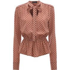 Markus Lupfer - Deep Blush Polka Stevie Blouse - L / Pink - Pink Blouse Patterns, Blouse Designs, Peplum Shirts, Peplum Tops, Peplum Blouse, Stylish Dresses For Girls, Polka Dot Shirt, Polka Dots, Looks Chic