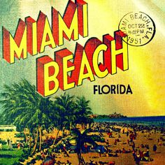 MIAMI BEACH photograph 12x12 art photo retro vintage beach home decor print 1950s coastal living summer beach lover gift Nostalgia via Etsy