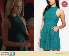 Caroline's green lace dress on The Vampire Diaries. Outfit Details: http://wornontv.net/26738 #TheVampireDiaries #fashion
