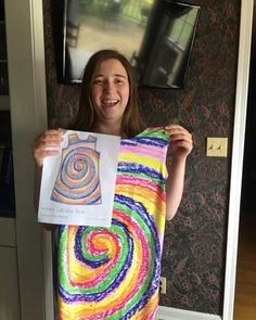 We LOVE this swirly whirly rainbow dress designed by Caroline!  #picturethis #picturethisclothing #wearyourimagination #fashion #wearableart