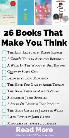 26 Books That Make You Think Looking for powerful books that make you think differently about the world? Check out some of the best books that will make you think outside the box. Best Books To Read, I Love Books, Good Books, My Books, Book To Read, Book List Must Read, Teen Books, Book Challenge, Reading Challenge
