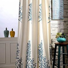 Two PanelCountry Embroidery Trees Cotton Energy Saving Curtains Drapes – USD $ 62.11