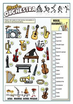 A collection of English ESL worksheets for home learning, online practice, distance learning and English classes to teach about musical, instruments, musical. Music Lessons For Kids, Music Lesson Plans, Music For Kids, Primary Lessons, Music Worksheets, Printable Worksheets, Preschool Worksheets, Music Activities, Music Games