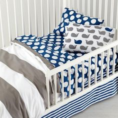 The Land of Nod | New School Toddler Bedding (Widest Stripe) in Toddler Bedding