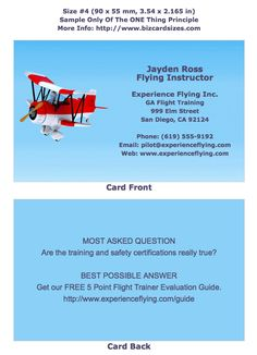 Size 4 Business Card For A Flight Instructor Learn To Choose And Use At