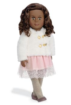 Hadia is a holiday doll from Our Generation with brown wavy shoulder-length hair and brown eyes. She dresses to celebrate in a pink dress with lace hem and a dazzling white faux-fur jacket. Sparkly Tights, African American Dolls, American Girl, Holiday Fashion, Holiday Outfits, Beautiful Brown Hair, White Faux Fur Jacket, Journey Girls