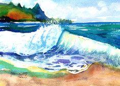 tunnels beach kauai hawaii ocean wave original watercolor painting  blue teal turquoise aqua waves big surf watercolour art kauaiartist
