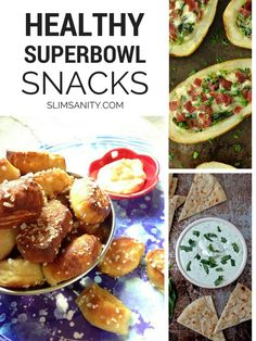 Healthy Superbowl Snacks - a delicious round-up of healthy dips and bites! Healthy Superbowl Snacks, Healthy Vegan Snacks, Game Day Snacks, Healthy Appetizers, Healthy Eating, Healthy Recipes, Tailgating Recipes, Quick Snacks, Skinny Recipes