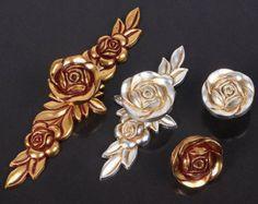 copper & ivory kitchen drawer knobs & pulls