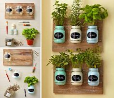 diy garden ideas You'll have a continuous supply of seasonal fresh herbs on hand when you have a Mason Jar Herb Garden. We've included lots of ideas that will inspire and delight plus instructions on how to make them. Watch the video tutorial too. Mason Jar Herbs, Mason Jar Herb Garden, Diy Herb Garden, Mason Jar Diy, Garden Planters, Herbs Garden, Wall Herb Garden Indoor, Indoor Herbs, Herb Wall