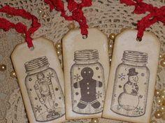 mason jars look like snowmen | Holiday DESTASH SALE New To Etsy- Mason Jar Snow Globe Vintage ...