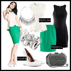 How To Wear Peplum & Pencil Outfit Idea 2017 - Fashion Trends Ready To Wear For Plus Size, Curvy Women Over 20, 30, 40, 50