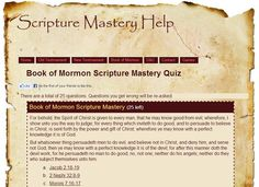 New for 2013! Book of Mormon Scripture Mastery quizzes, bingo games, memorization helps, etc.