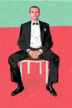 David Hockney (UK 1937) digital portrait of Jeans-Pierre Goncalves De Lima (2008) Powefull portrait!