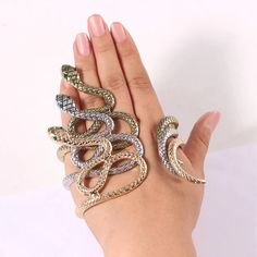 Serpent Hand Wrap - 3 Colors LOW STOCK! – The Songbird Collection Low Stock, Hand Accessories, Hand Bracelet, Hand Wrap, Snake, Hands, Diamond, Bracelets, Unique