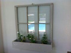Vintage old antique wooden window sash shabby chic planter flower box 6 pane