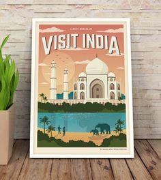 Cartel Vintage Taj Mahal, Viaje, India, Poster, Travel Poster Vintage, Decoracion, Lamina, Antiguo, Cuadros, Impresiones de GraphicHomeDesign en Etsy https://www.etsy.com/es/listing/268021405/cartel-vintage-taj-mahal-viaje-india