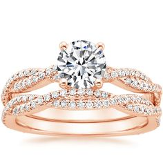 14K Rose Gold Petite Luxe Twisted Vine Diamond Ring (1/4 ct. tw.) from Brilliant Earth