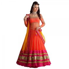 Buy Orange & Pink Semi Stitched Net Anarkali Lahenga Choli Online at cheap prices from Shopkio.com: India`s best online shoping site