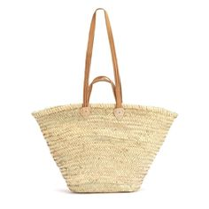 The Natural Basket Flat Leather Handle Double can be carried byhand or worn comfortably on the shoulder. TheseBaskets are classic French Market Baskets. The p
