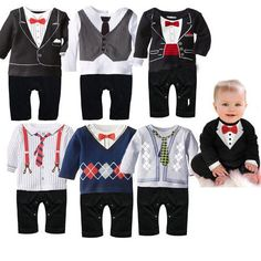 Baby exclusive boy gentleman of leisure Romper