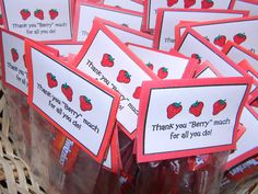 "Small daily gift - Tag says Thank you ""berry"" much for all you do! - Small daily gift – Tag says Thank you ""berry"" much for all you do! Employee Appreciation Gifts, Volunteer Appreciation, Employee Gifts, Teacher Appreciation Week, Appreciation Note, Staff Gifts, Volunteer Gifts, Team Gifts, Teacher Gifts"