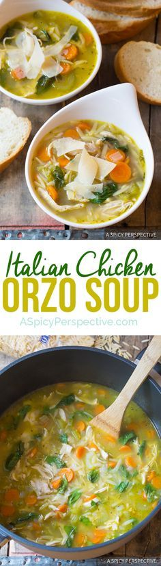 Amazing Italian Chicken Orzo Soup (Healthy and Delicious!) | http://ASpicyPerspective.com