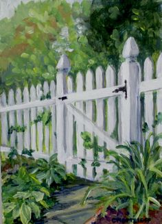 """My Garden Gate  5""""x 7"""" Acrylic on Canvas panel.  https://www.etsy.com/listing/102779123/landscape-acrylic-painting-with-easel?ref=shop_home_active SOLD"""