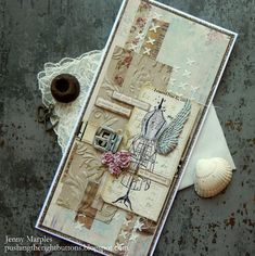 Tim Holtz Sizzix Alterations 3D Embossing Botanical Distress Paint Ideaology Stampers Anonymous Inventor 3 Card 1