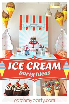 Cool off this summer with this fun Ice Cream birthday party! The ice cream cone cake pops are fantastic!! See more party ideas and share yours at CatchMyParty.com #catchmyparty #partyideas #icecream #icecreamparty ##icecreamparlor #summer