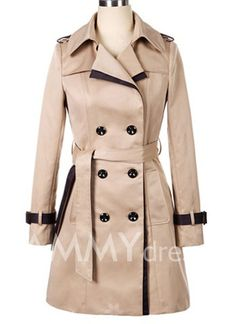 $21.09 Double-breasted Back Strappy Beam Waist Long Edition Polyester Color Matching Trench Coat For Women