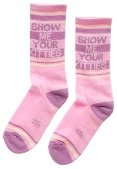 SHOW ME YOUR KITTIES GYM SOCKS - Show me your kittttiiiesss! I need cat photos, stat. These Show Me Your Kitties socks are a sweet pastel pink and purple combo and super comfy! Sheer Socks, Show Me Your, Pastel Pink, Style Me, Kitty, Comfy, Gym, Unisex, Purple