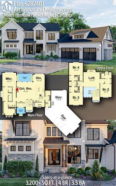 Plan Architectural Designs - Selling quality house plans for o. Plan Architectural Designs - Selling quality house plans for o. Architectural Designs Craftsman House Plan has 4 beds New House Plans, Dream House Plans, Modern House Plans, Home Plans, Modern Floor Plans, Home Design Plans, Garage House, Car Garage, Future House