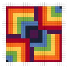 Graphgan - Cross Stitch Rainbow Block 8 - The Crafty Mummy